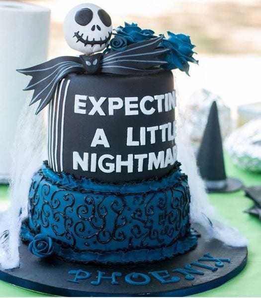 expecting a little nightmare baby shower cake